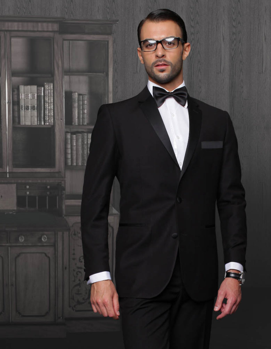 Mens 2 Button Modern Fit Wool Tuxedo in Black