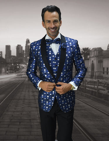 Mens Vested Polka Dot Tuxedo in Royal