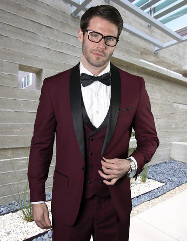 Mens Wool One Button Shawl Tuxedo with Double Breasted Vest in Burgundy