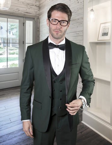 Mens Wool One Button Shawl Tuxedo with Double Breasted Vest in Hunter Green