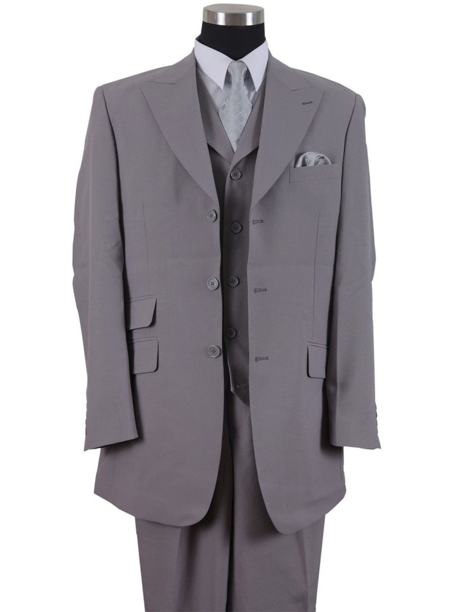 Mens 3 Button Peak Lapel Fashion Suit in Grey