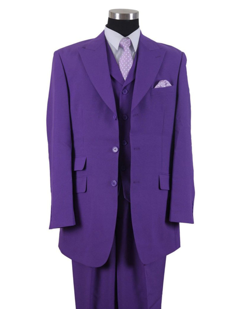 Mens 3 Button Peak Lapel Fashion Suit in Purple