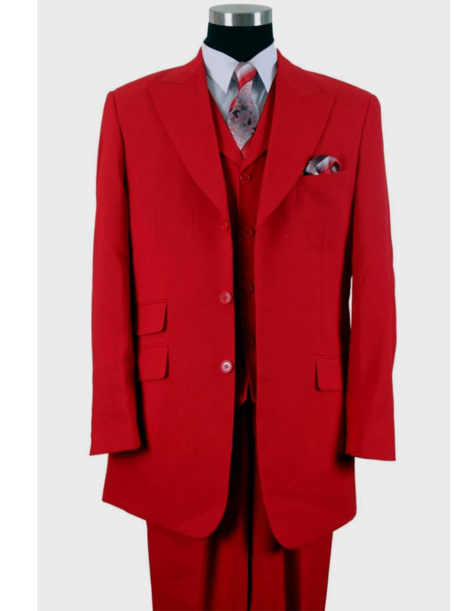 Mens 3 Button Peak Lapel Fashion Suit in Red