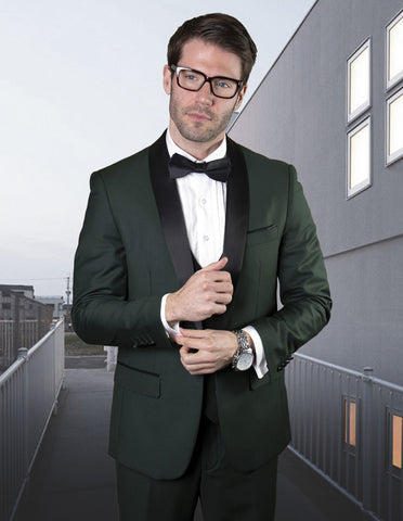 Mens Wool One Button Modern Fit Vested Shawl Tuxedo in Hunter Green