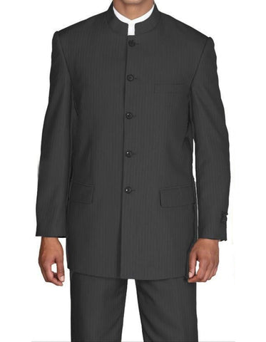 Mens 5 Button Mandarin Collar Suit in Black Pinstripe