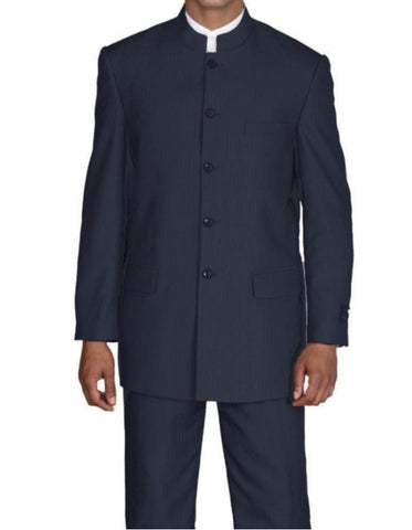 Mens 5 Button Mandarin Collar Suit in Navy Pinstripe