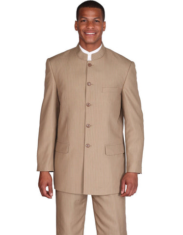 Mens 5 Button Mandarin Collar Suit in Tan Pinstripe