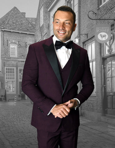 Mens Vested Wide Peak Lapel Tuxedo in Burgundy