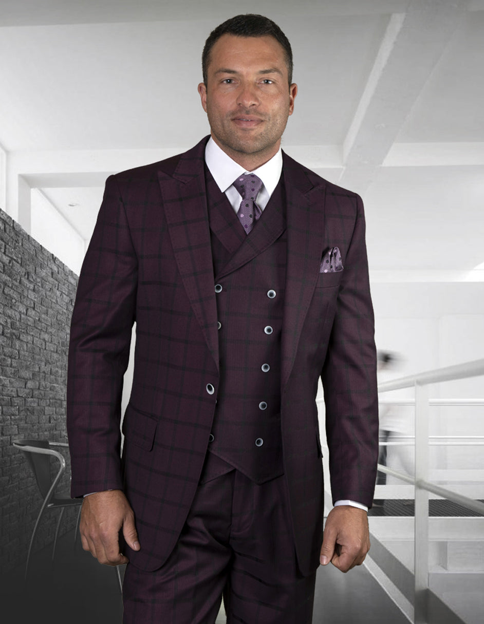 Mens Classic Fit One Button Peak Lapel Suit with Double Breasted Vest in Burgundy Plaid