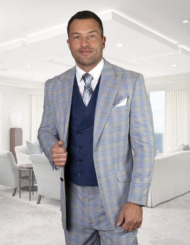 Mens Statement Apula 2 Button Peak Lapel Suit with Double Breasted Vest in Light Blue Plaid