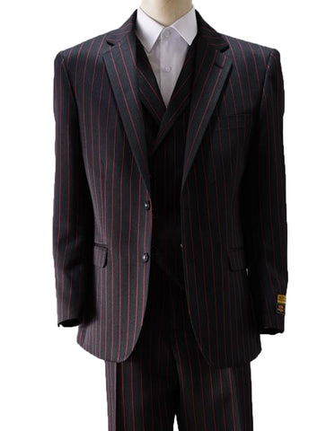 Mens 3 Button Vested Gangster Pinstripe Suit in Black & Red