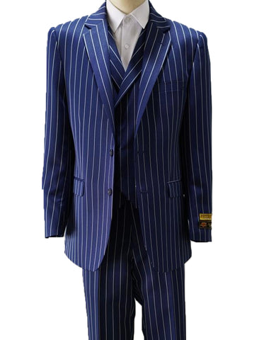 Mens Vested Gangster Pinstripe Suit in Navy & White