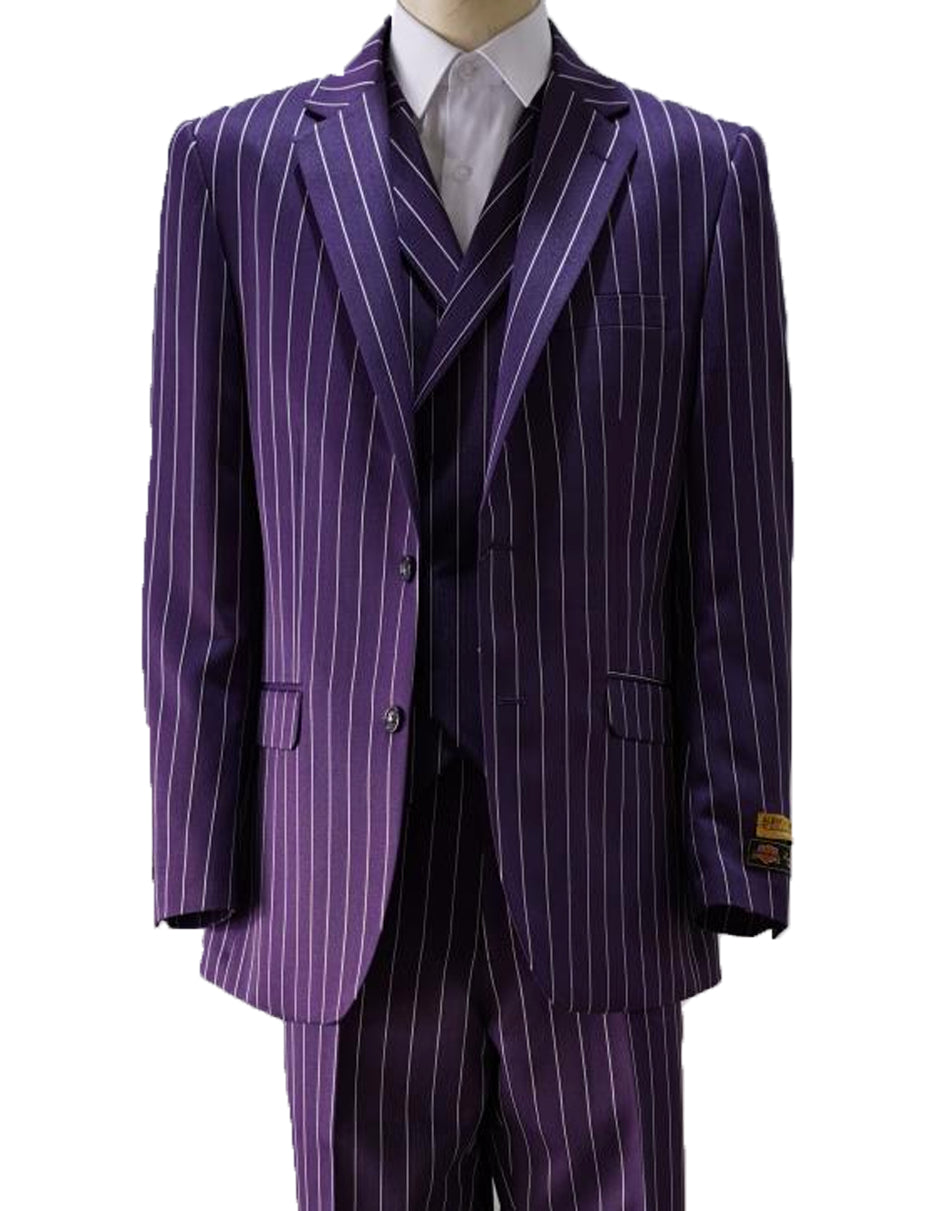 Mens Vested Gangster Pinstripe Suit in Purple & White