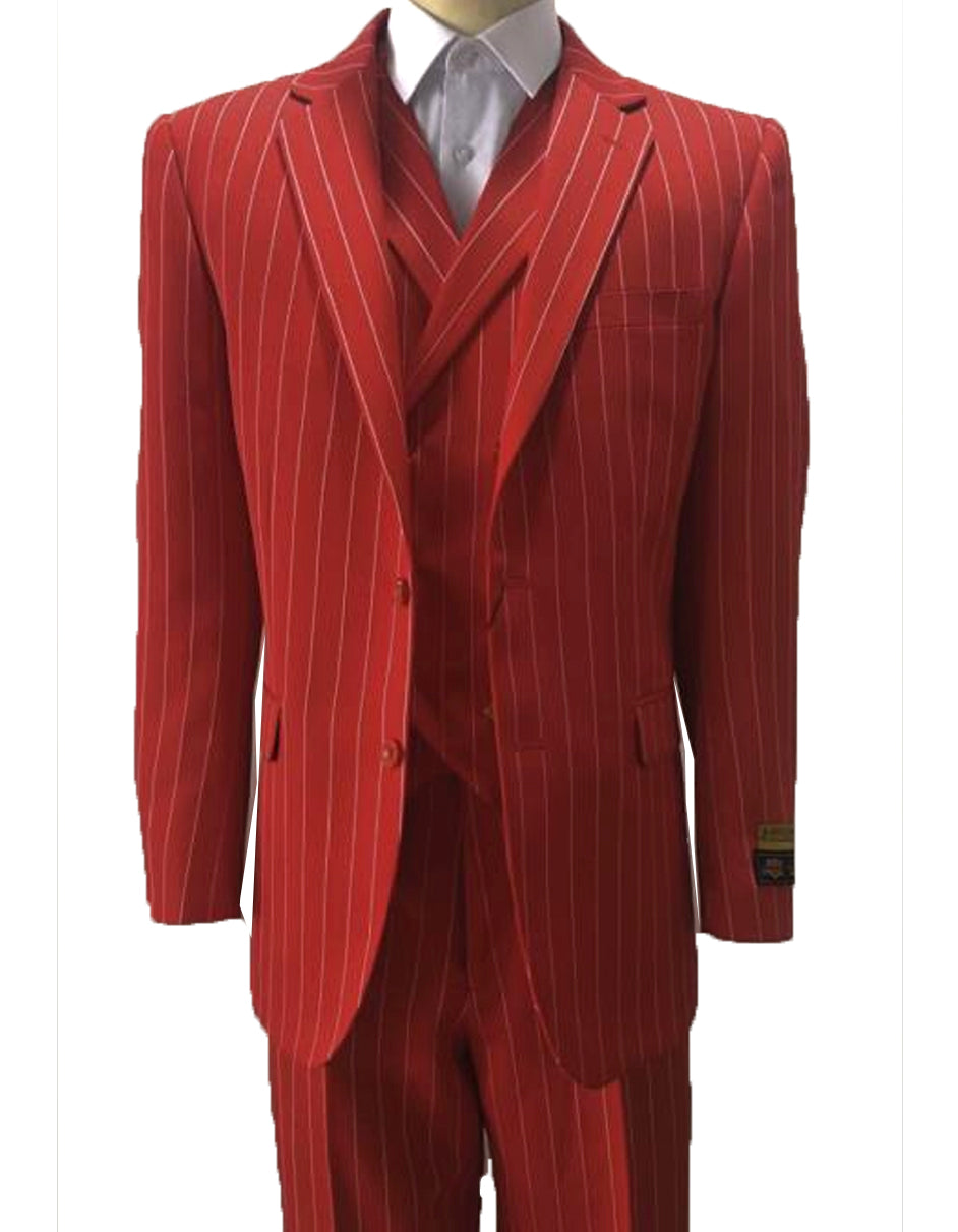 Mens Vested Gangster Pinstripe Suit in Red & White