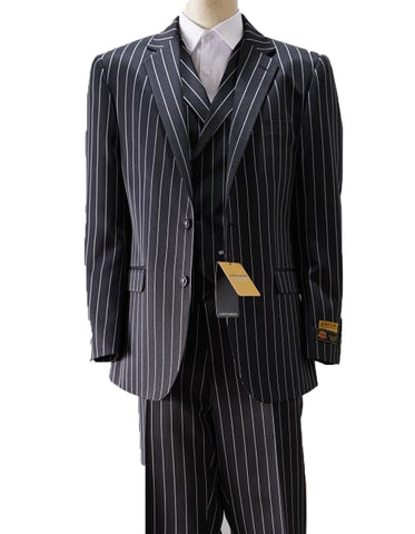 Mens Vested Gangster Pinstripe Suit in Black & White