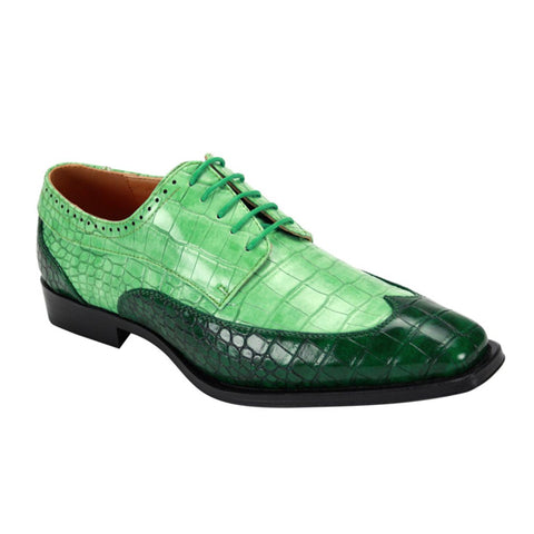 Mens Faux Alligator Apple Green Wingtip Shoes
