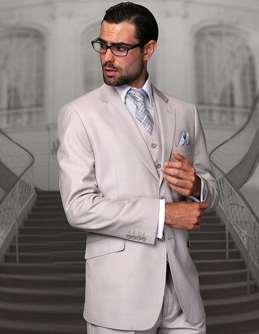Mens 2 Button Modern Fit Vested Wool Suit in Ash Grey