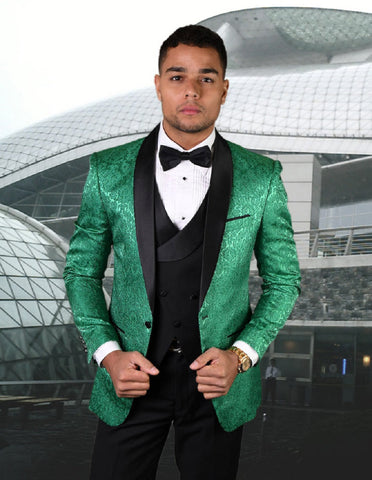 Mens Vested Shawl Lapel Paisley Tuxedo in Emerald Green