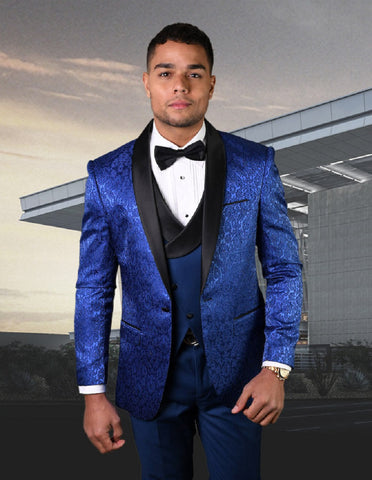 Mens One Button Royal Blue Tuxedo with Double Breasted Vest