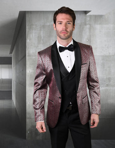 Mens Vested One Button Shawl Lapel Herringbone Tuxedo in Burgundy