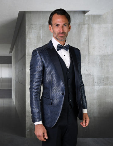 Mens Vested Peak Lapel Shiny Pattern Tuxedo in Navy