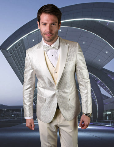 Mens Vested Peak Lapel Shiny Pattern Tuxedo in Ivory