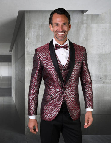 Mens Vested Shiny Diamond Print Tuxedo in Burgundy