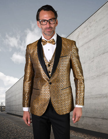 Mens Vested Shiny Diamond Print Tuxedo in Gold