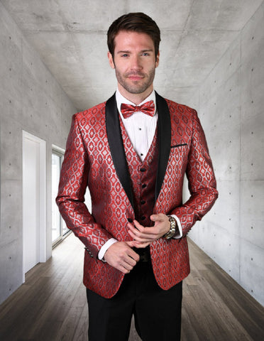 Mens Vested Shiny Diamond Print Tuxedo in Red
