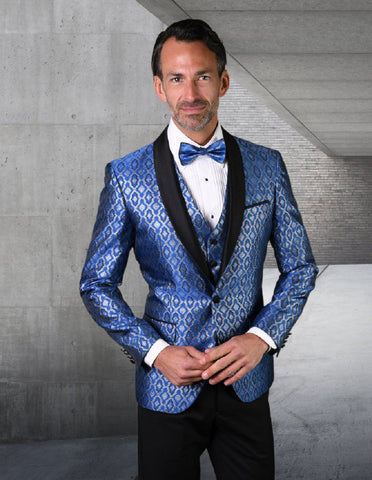 Mens Vested Shiny Diamond Print Tuxedo in Royal Blue