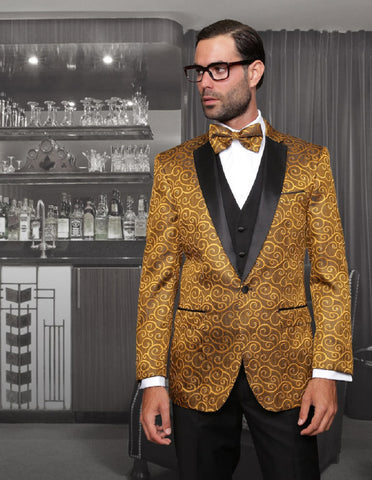Mens Vested Swirl Patter Notch Lapel Tuxedo in Gold