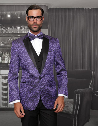 Mens Vested Swirl Patter Notch Lapel Tuxedo in Purple