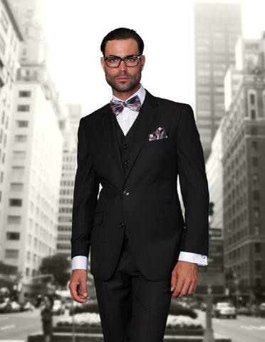 Mens 2 Button Modern Fit Vested Wool Suit in Black