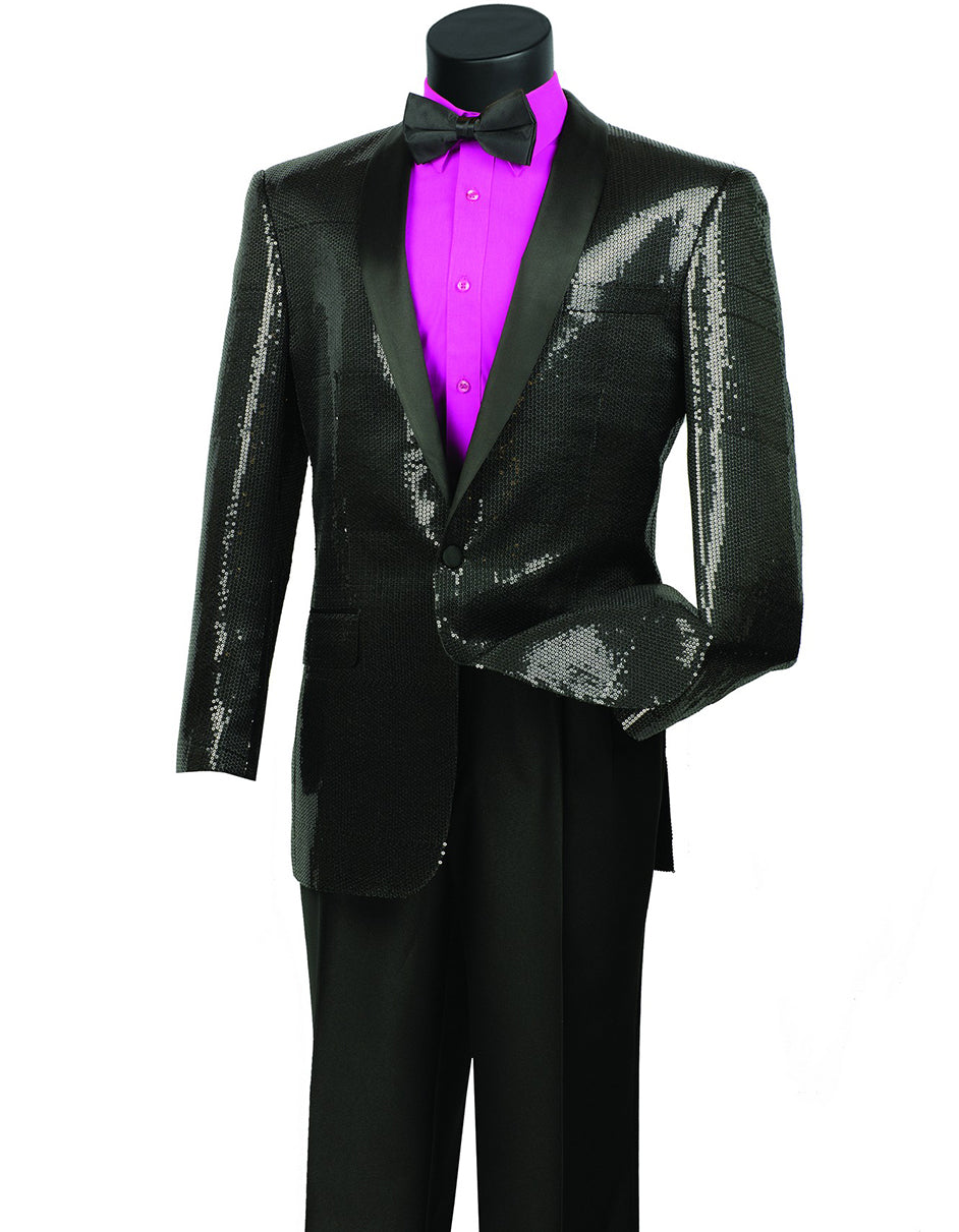 Mens 1 button Sequin Shawl Tuxedo in Black
