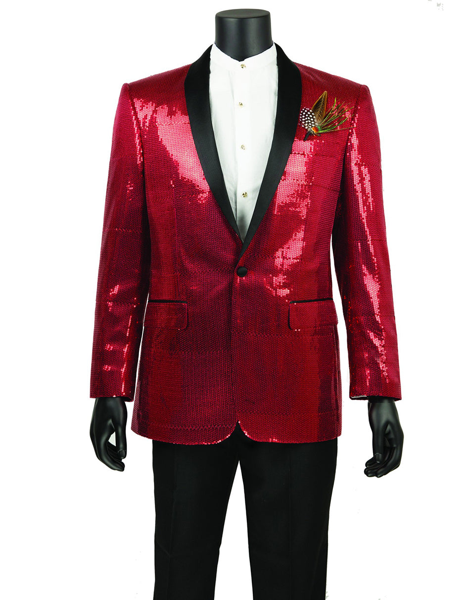 Mens 1 button Sequin Shawl Tuxedo in Red