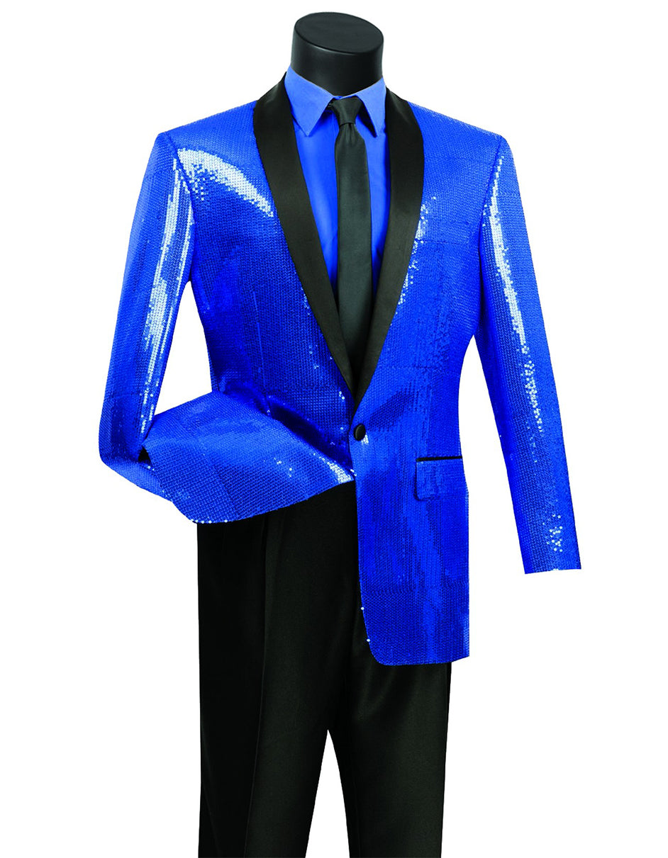 Mens 1 button Sequin Shawl Tuxedo in Royal Blue