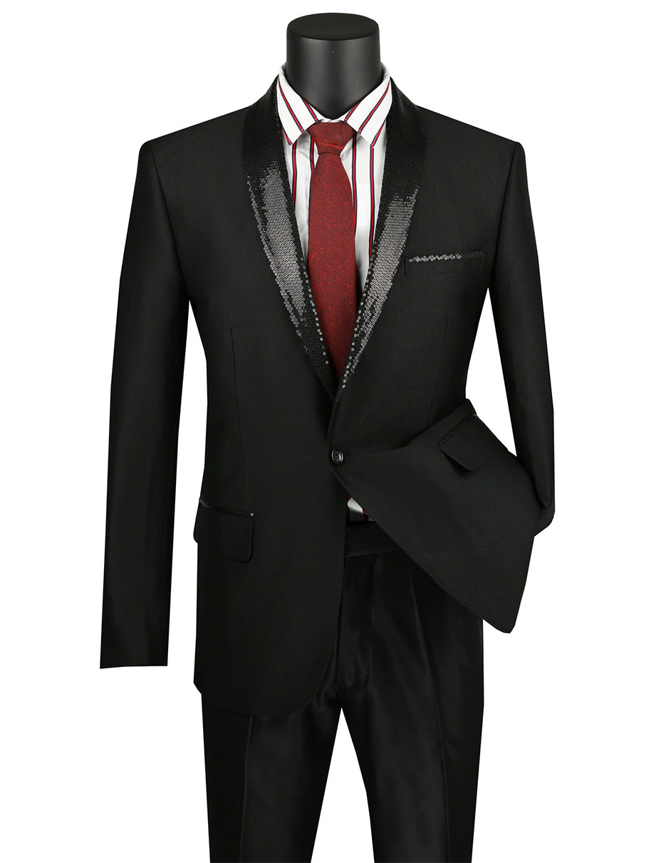 Mens 1 button Dinner Jacket with Sequin Shawl Lapel in Black