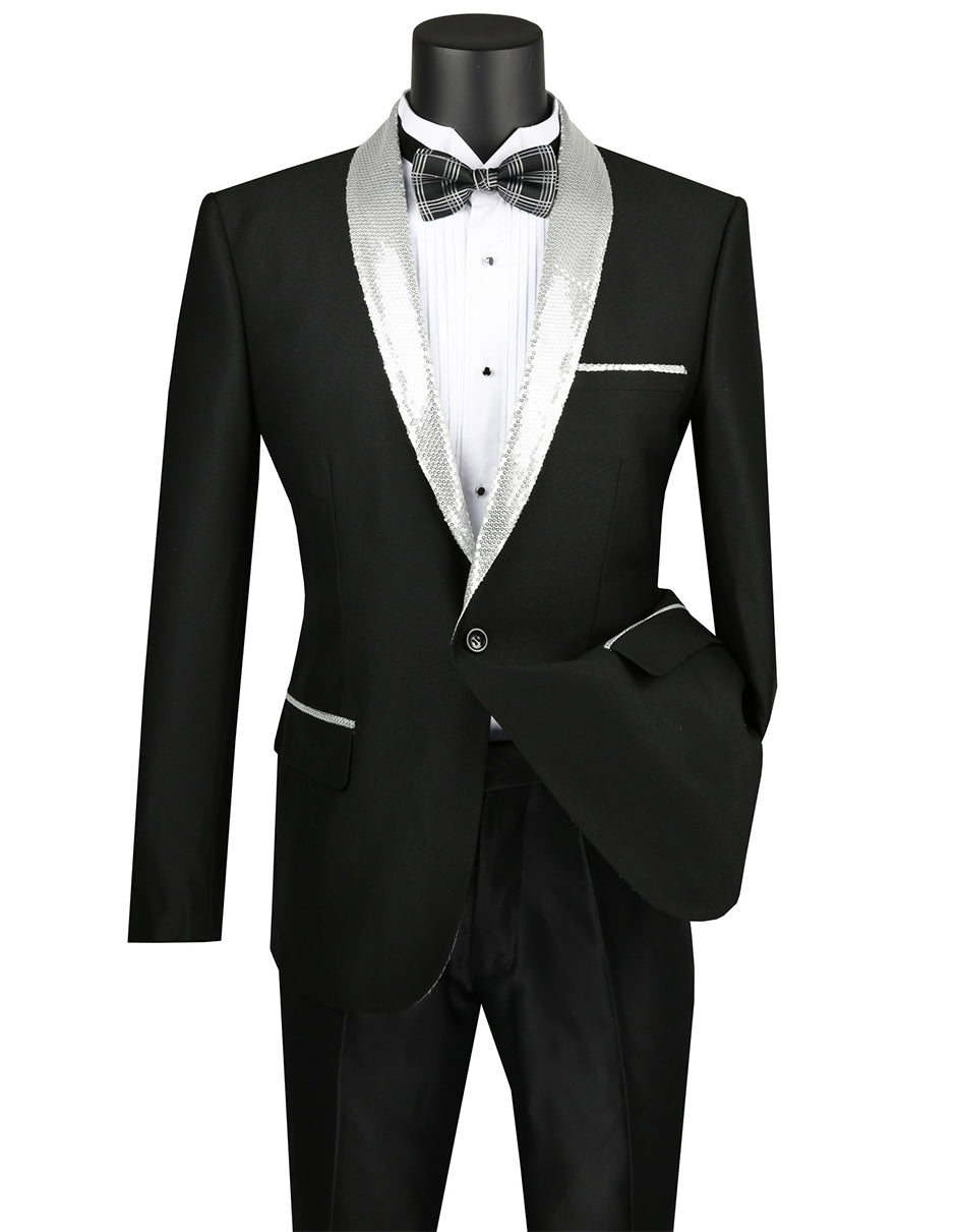 Mens 1 button Dinner Jacket with Sequin Shawl Lapel in Black & Silver