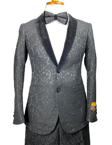 Mens Lace Prom Tuxedo Package in Black w/ Matching Pants & Bowtie