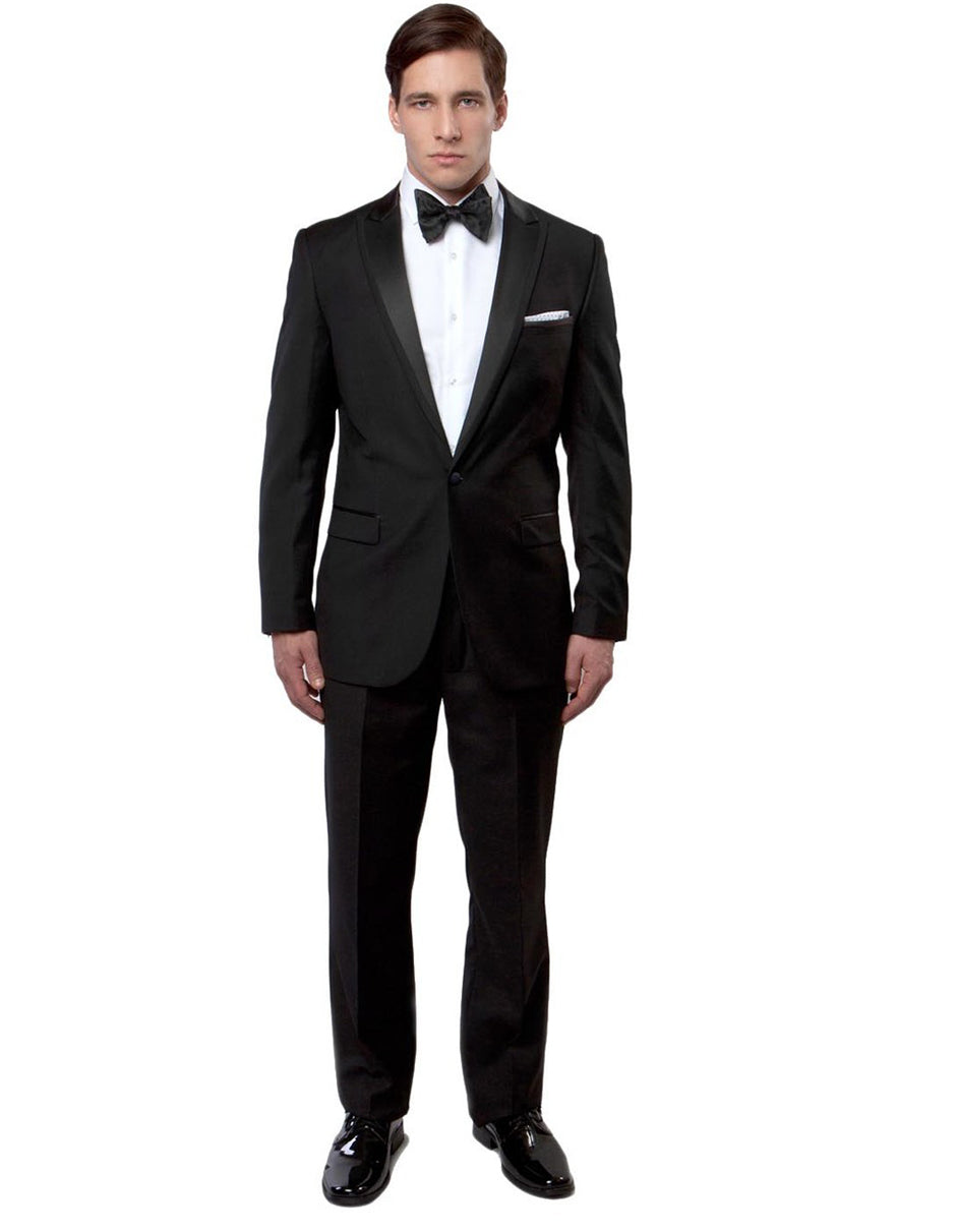 Mens Modern Fit 1 Button Peak Trim Wool Tuxedo in Black