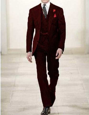 Mens 2 button Gangster Pinstripe Suit in Black & Red