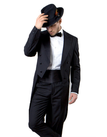 Mens Classic Wool Tail Tuxedo in Black