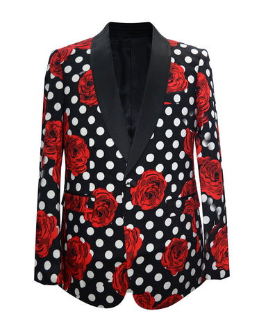 Mens Polka Dot & Rose Dinner Jacket in Black & Red