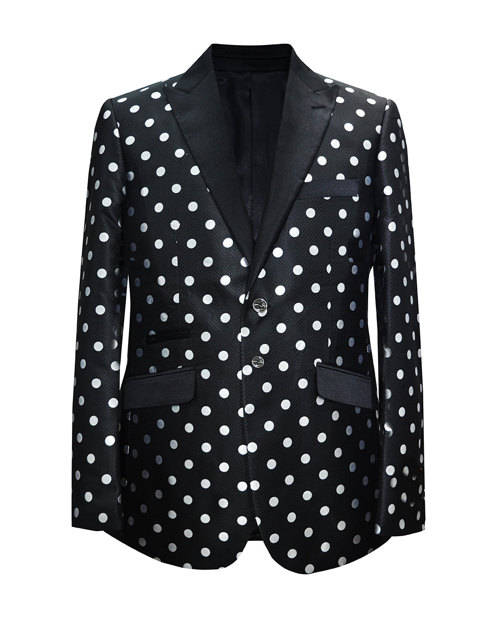 Mens Polka Dot Dinner Jacket in Black & White