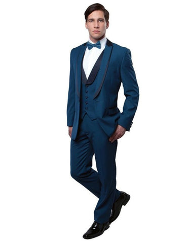 Mens Vested 1 Button Navy Wool Trim Peak Tuxedo