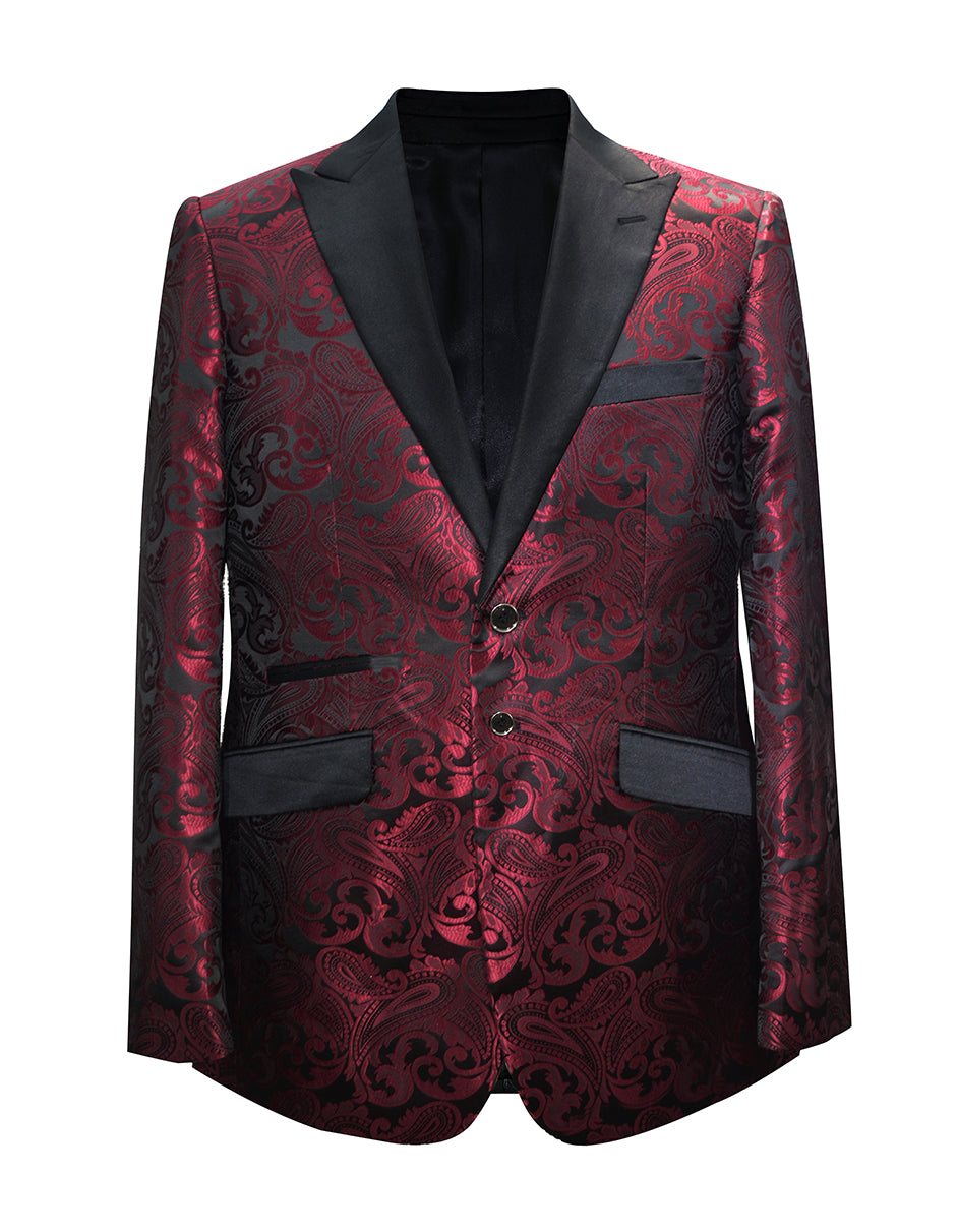 Mens Paisley Floral Tuxedo Jacket in Burgundy & Black