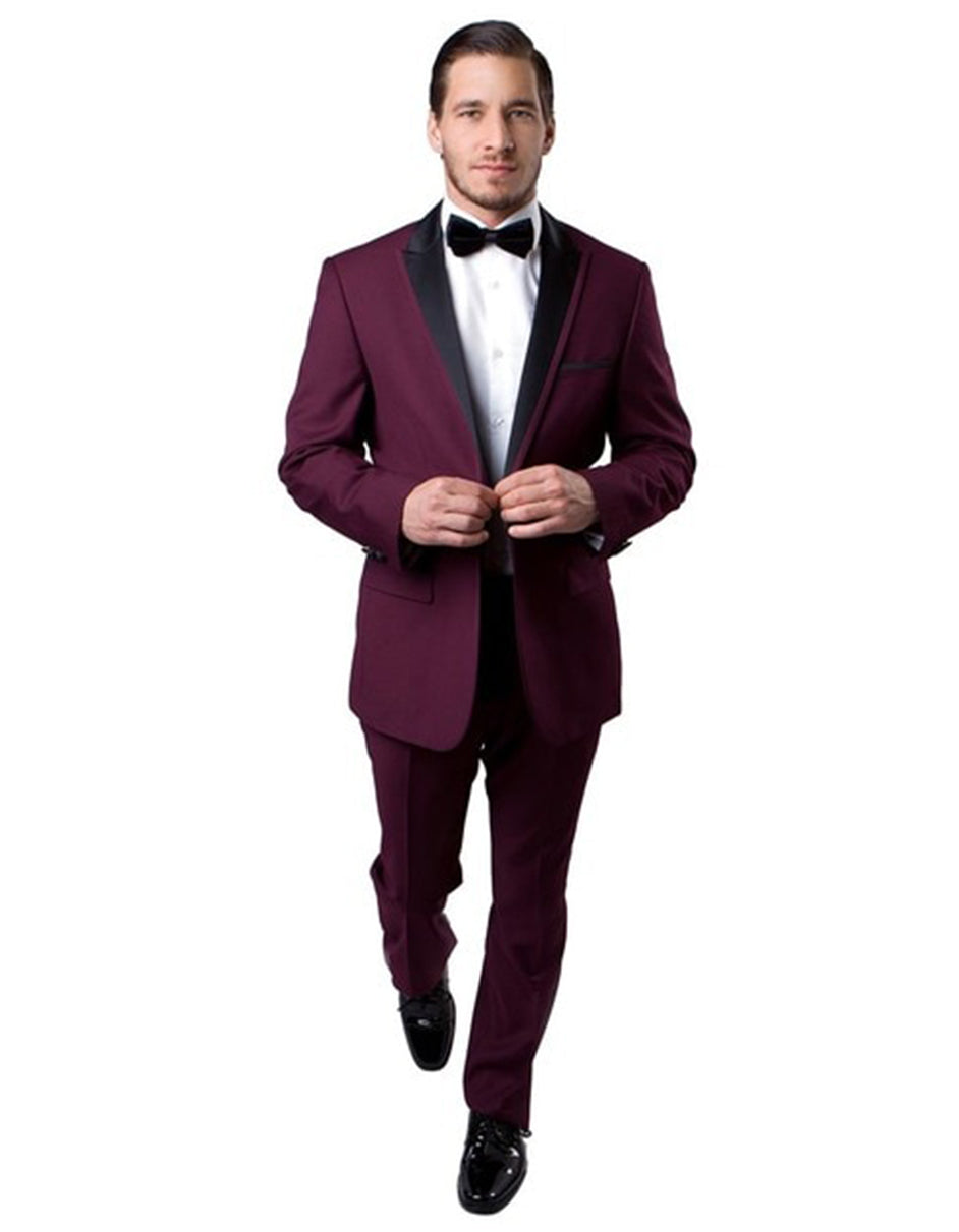 Mens Modern Wool Peak Trim Wedding Tuxedo in Burgundy