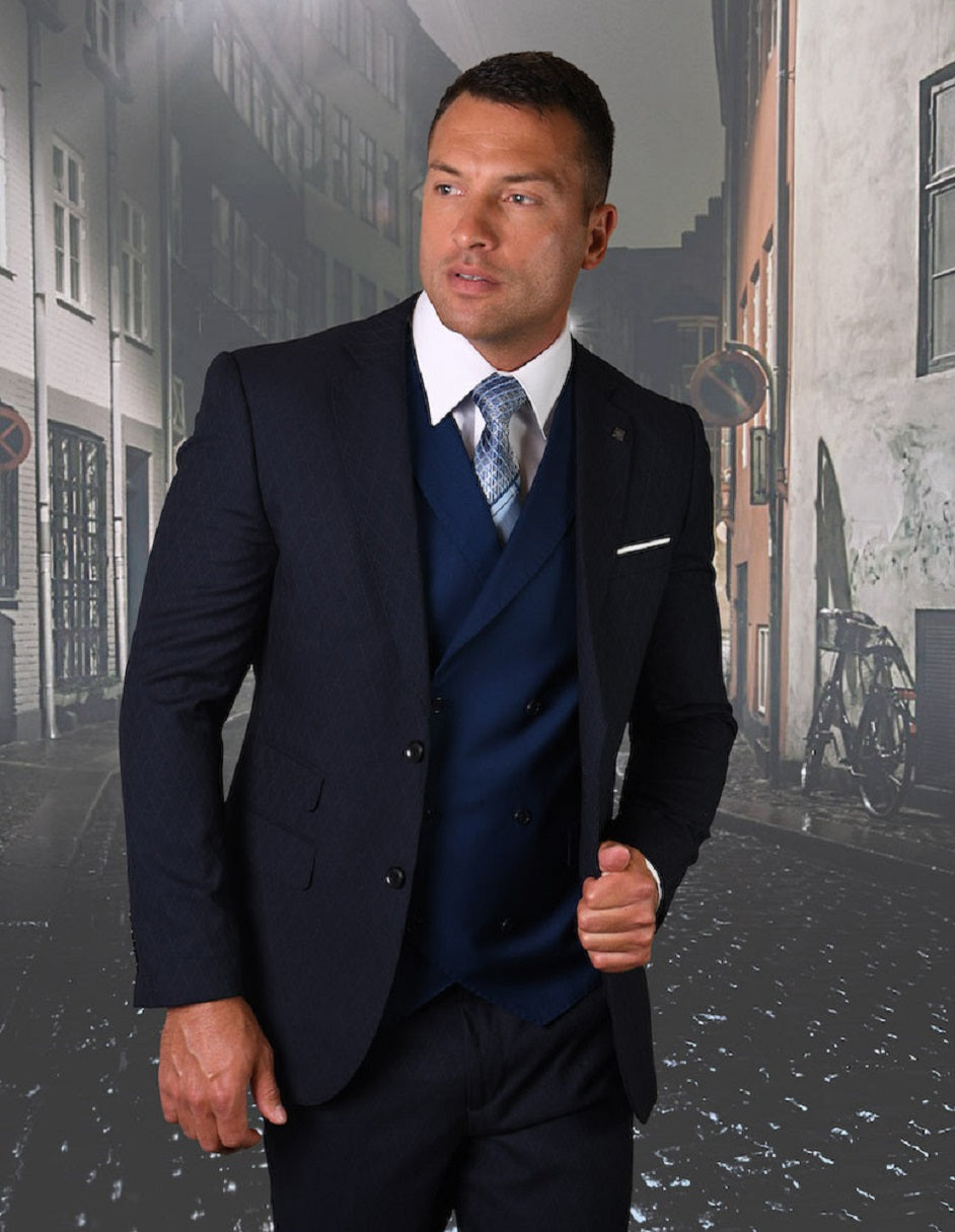 Mens 2 button Navy Suit with Double Breasted Vest