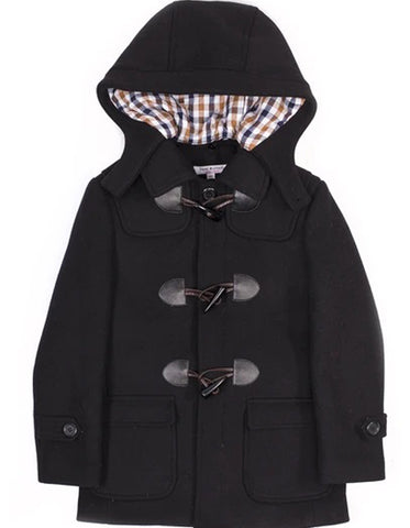 Little Boys and Toddlers Clasp Front Hooded Wool Coat in Black