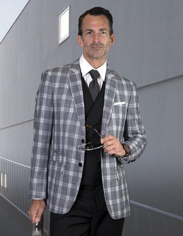 Mens Vested Classic Fit Double Breasted Vest Suit in Black Plaid